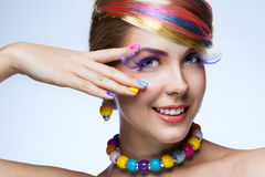 Woman with bright makeup Stock Photography