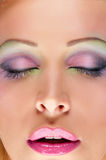 Woman with bright pink lips Stock Image