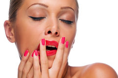 Woman with bright red lips Stock Images