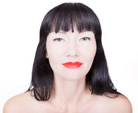 Woman with bright red lips. Portrait of beautiful woman with bright red lips make-up, isolated on white Stock Image