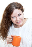 Woman in a bright scarf with cup coffee in hand Stock Photo