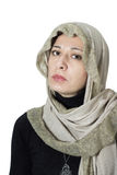 Woman with bright scarf over her head Stock Photography