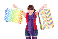 Woman with bright shopping bags Royalty Free Stock Images