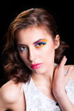 Woman with bright stylish make-up. Stock Photos