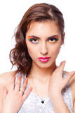 Woman with bright stylish make-up. Royalty Free Stock Images