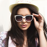 Woman in bright summer hat Royalty Free Stock Photos