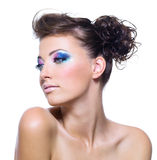Woman with bright vibrant make-up Stock Image