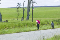 A woman with a brightly colored pink umbrella walking through the green grassy fields of Zululand, South Africa Royalty Free Stock Photography