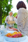 Woman bringing gift to a birthday party Royalty Free Stock Photo