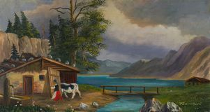 Woman brings the cow to the stable at a lake stock illustration