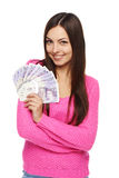 Woman with British pounds Stock Photos