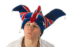 Woman with Brittain funny hat Stock Photo