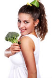 Woman and broccoli Royalty Free Stock Photo