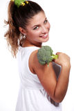 Woman and broccoli Royalty Free Stock Photography
