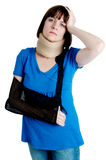 Woman with broken arm Royalty Free Stock Images