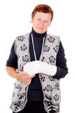 A woman with a broken arm. Isolated on white background royalty free stock photos