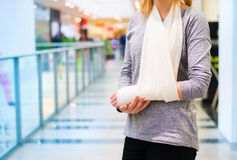 Woman with broken arm Royalty Free Stock Photography
