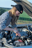 Woman at broken car Stock Photography