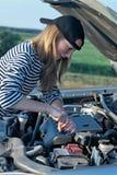 Woman at broken car Stock Photography