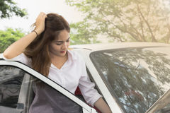 Woman with broken car Royalty Free Stock Images