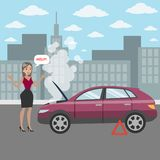 Woman with broken car. Woman with broken car`s engine asking for help on the road Stock Images