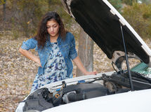 Woman with broken car wait on road Royalty Free Stock Photography