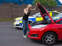 Woman broken down police assistance Royalty Free Stock Photography