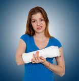 Woman with broken hand. In Bandage stock photography