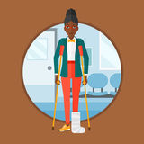 Woman with broken leg and crutches. Royalty Free Stock Photo
