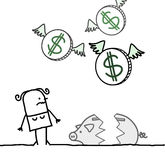 Woman and broken piggy bank royalty free illustration