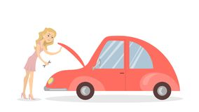 Woman with broken car. Woman with broken red car on white background Royalty Free Stock Photo