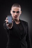 Woman with broken smartphone. Royalty Free Stock Photo