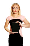 Woman with broken tablet Royalty Free Stock Image