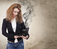 Woman with broken tablet Stock Photo