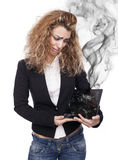 Woman with broken tablet Stock Photography