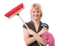 Woman with broom Royalty Free Stock Image