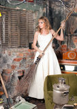 Woman with a broom Royalty Free Stock Images