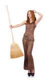 Woman with broom Stock Images