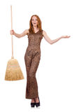 Woman with broom isolated Royalty Free Stock Photo