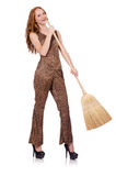 Woman with broom isolated Stock Images