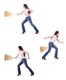Woman with broom isolated on white Stock Photography