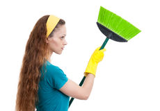 Woman with broom Royalty Free Stock Images