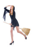 Woman with broom Stock Photos