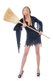 Woman with broom Royalty Free Stock Photos