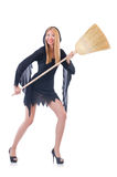 Woman with broom Stock Image