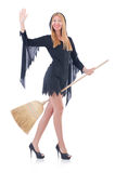 Woman with broom Royalty Free Stock Photo