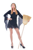 Woman with broom Stock Photo