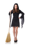 Woman with broom Royalty Free Stock Photography