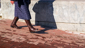 Woman in Brown Boots Stock Photo