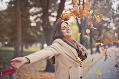 Woman In Brown Coat Royalty Free Stock Photography